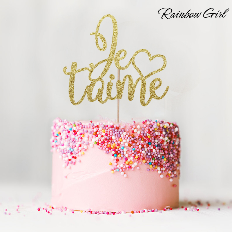 Je T'aime Kue Topper - Glitter Paris Tema Dekorasi Ulang Tahun Pernikahan Engagement Party Supplies Kue Aksesori
