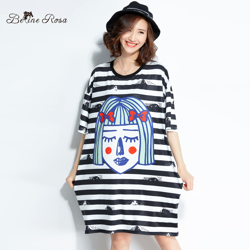fcb7e3f8799f3 BelineRosa 2018 Fashion Women Ladies Tunic Girls Face Printing Striped T  shirt Dress Female 3XL 4XL TYW00816-in Dresses from Women's Clothing on ...