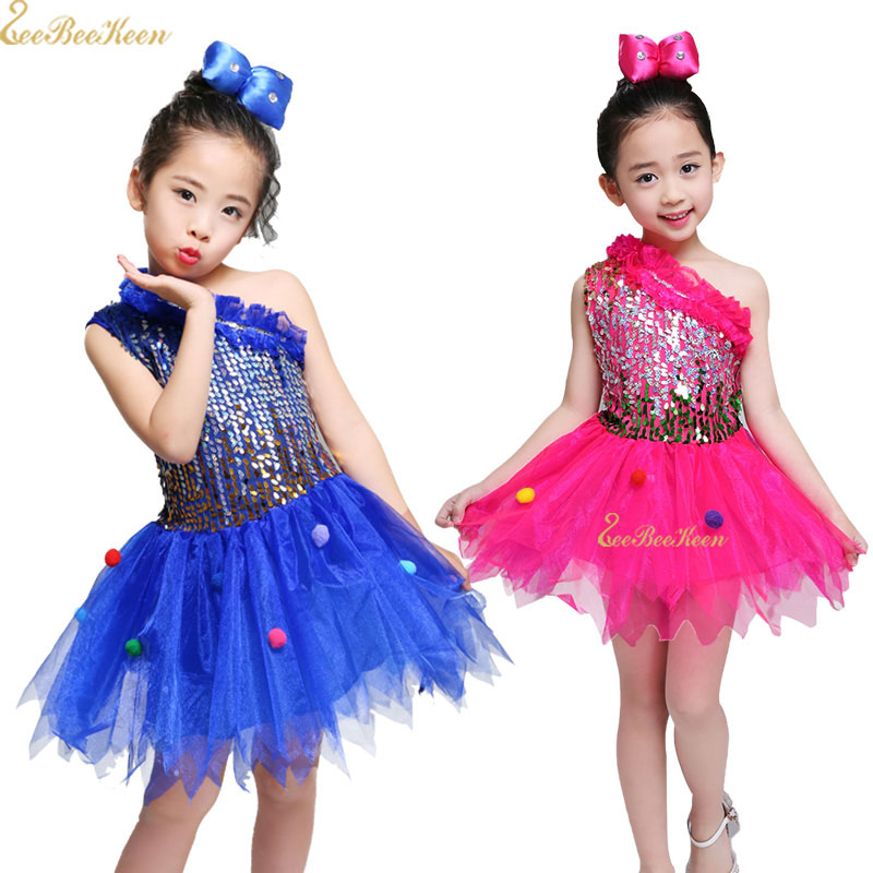 Dance costume Girls Modern Dance Sequin Stage performance Show Clothes Chorus Suit Children Jazz Dance Dress For Kids