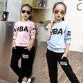 Маленькие девочки-подростки одежда спортивные костюмы девушки наряды костюм осень письма топы футболки черные брюки костюмы девушки наборы