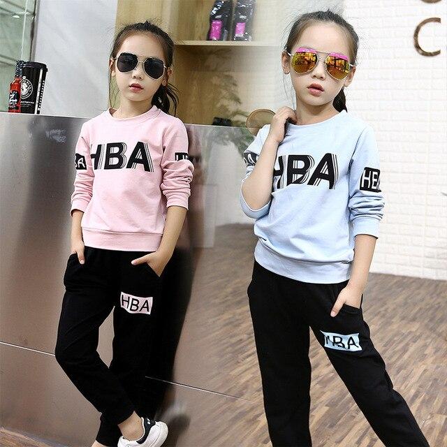 Pouco meninas adolescentes roupas ternos esportes das meninas outfits treino outono letras tops t camisas pretas calças conjuntos de fatos de treino meninas