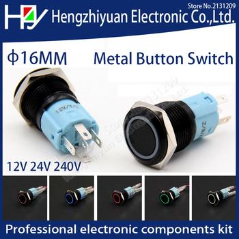 Hzy LED chwilowy 16mm wodoodporny metalowy przełącznik wciskany 3V 5V 12V 24V 48V 110V 220V czerwony zielony pomarańczowy niebieski biały tanie i dobre opinie Przełączniki 2 years Metal button switch momentary Ze stopu aluminium ze stopu aluminium ETERNALFAR Switches piece 0 02kg (0 04lb )