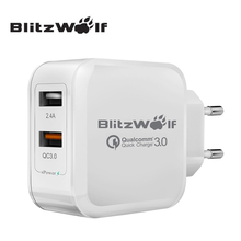 BlitzWolf 2.4A 30W EU Quick Charge QC3.0 Dual USB Fast Phone Charger Adapter For Samsung Smartphone Chargers