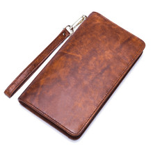 Top Cowhide Leather Men's Long Clutch Wallet brown/coffee simple large capacity business card holder purse