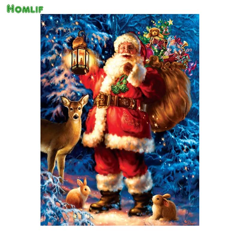 HOMLIF 5D DIY diamond embroidery Santa Claus diamond painting Cross Stitch full drill Rhinestone mosaic home decoration gift