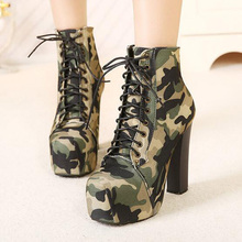 euro women military boots high heels square toe camouflage sexy platform pumps thick heel shoes woman lace bandage stiletto
