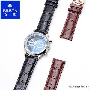 Image 5 - Ремешок кожаный HUXIE подходит для наручных часов patek Philips, ремешок из коровьей кожи, цепочка для часов, розовое золото, складывающаяся Кнопка 19 20 22 мм