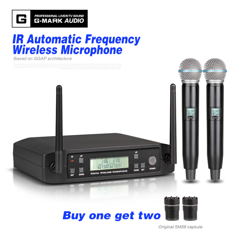 G-MARK G202 UHF Handheld Karaoke Microphone Wireless Professional System 2 Channel Frequency Adjustable Cordless For DJ PartyG-MARK G202 UHF Handheld Karaoke Microphone Wireless Professional System 2 Channel Frequency Adjustable Cordless For DJ Party