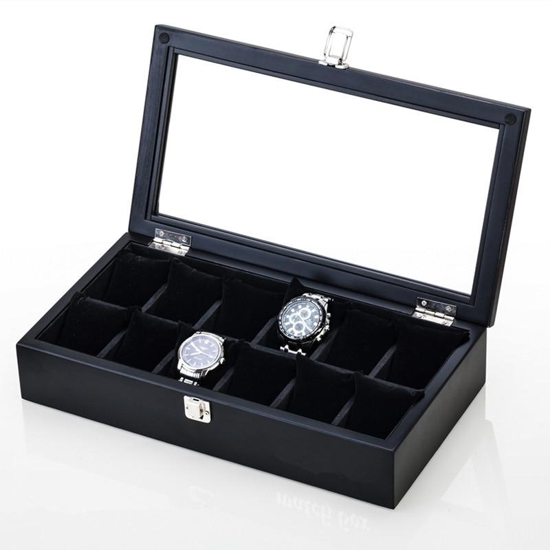 Slots de Madeira Caixa de Relógio de Luxo dos Homens Caixa de Armazenamento com Janela Cases de Exposição de Jóias para Mulheres Caixa de Presente Negros Relógio Case W042 Top 12