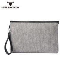 Solid Gray Men Canvas Tote Bags Fashion Panelled Business Envelope Clutch Bag Male Casual Street Small Handbag Document