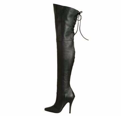 Zapatos mujer boots sexy high heel boots cross-tied over the knee boots pointed toe women thigh thin boots leather white boots
