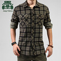 AFS JEEP Falow Thickness Autumn Plaid casual Winter Full Sleeve Shirt,Turn Down Collar Man Cargo 100% Cotton Overall Shirts