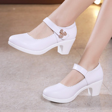 White Black Red Silver Block Heels Platform Pumps Women Wedding Shoes 2019 Rhinestone Square Heel Office Shoes Woman Footwear