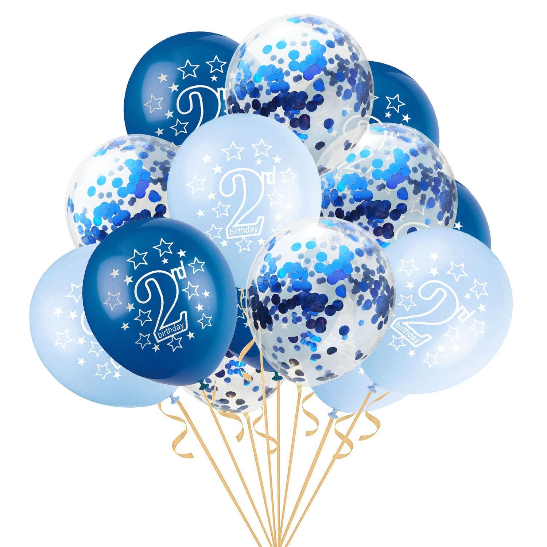 15 шт. 12 дюймов счастливый 2 лет День рождения Синий Розовый Золото Роза латексные Конфетти Для детей день рождения мультфильм шляпа подарки для детей - Цвет: blue blue