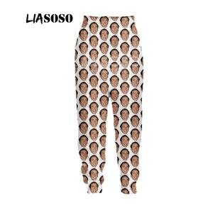Image 5 - LIASOSO Осенние новые мужские и женские модные брюки с 3D принтом звезда Николя клетка Брюки Спортивные Фитнес свободные хип хоп брюки B054 09