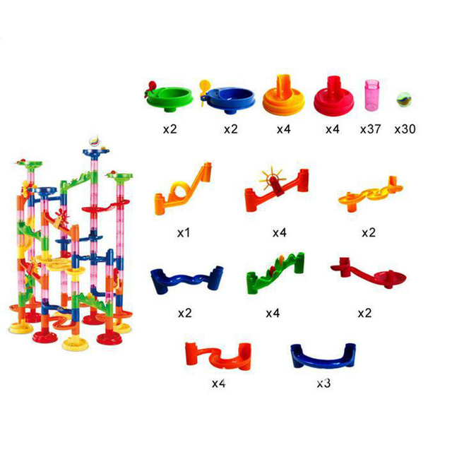 105PCS DIY Construction Marble Race Run Maze Balls Track Building Blocks Children Gift For Baby Educational Toys 2
