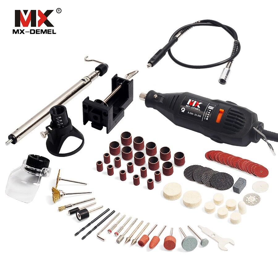 Stile MX-DEMEL Mini Trapano Dremel Elettrico Strumenti Rotanti Incidere Strumento Grinder Velocità Variabile Con Albero Accessori FAI DA TE Kit di alimentazione