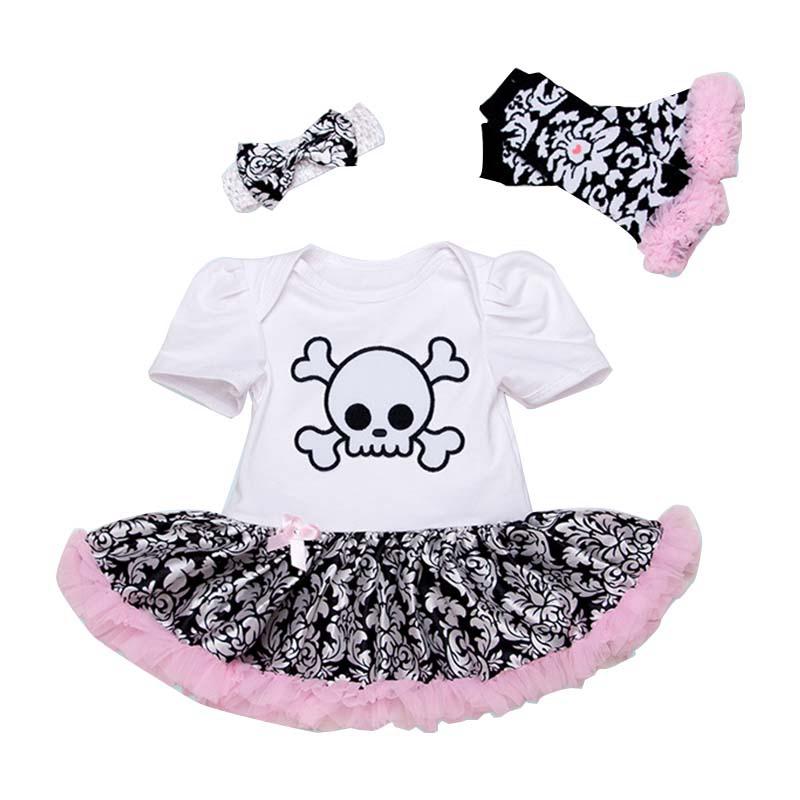 a33ddde05 Newborn Girls Clothing Set 3 Piece Suits Skull Romper Tutu Skirt+ ...