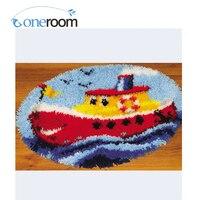 ZD213 Big Boat Oneroom Hook Rug Kit DIY Unfinished Crocheting Yarn Mat Latch Hook Rug Kit