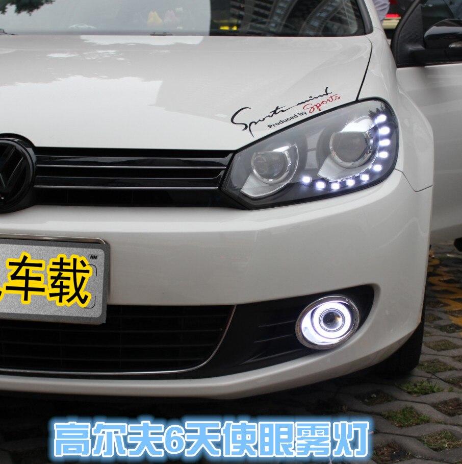 DRL COB angel eye (6 couleurs) + lentille de projecteur + H3 lampe anti-brouillard halogène + lampe anti-brouillard noire pour volkswagen VW golf 6 MK6