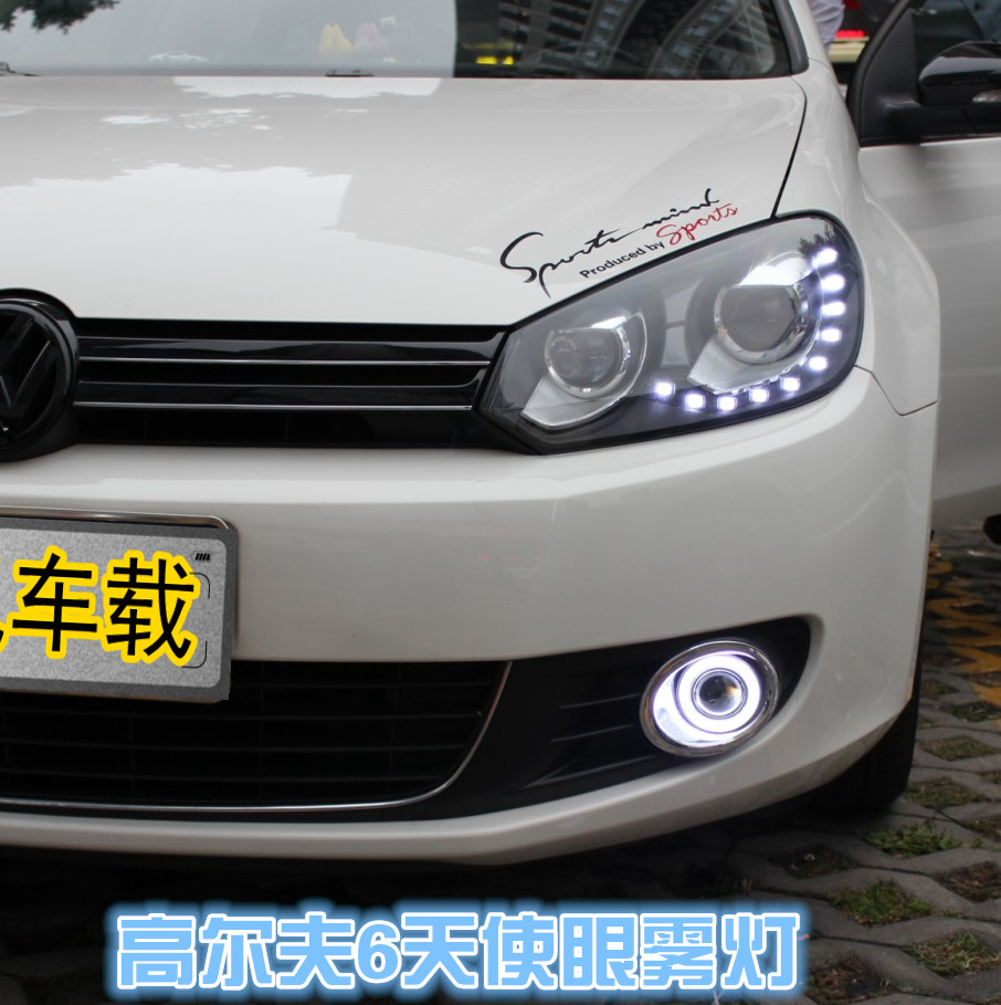 DRL COB angel eye ( 6 colors ) + projector lens + H3 halogen fog lamp + black fog lamp house for volkswagen VW golf 6 MK6