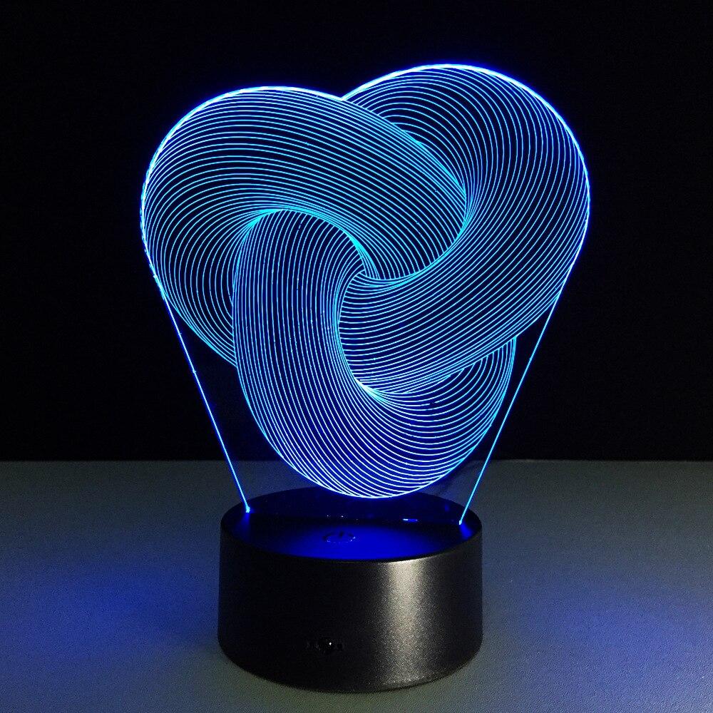 Геометрический 3D прозрачный акриловый творческий ночник USB touch переключатель Крытый с подсветкой 7 цветов изменить атмосферу лампа