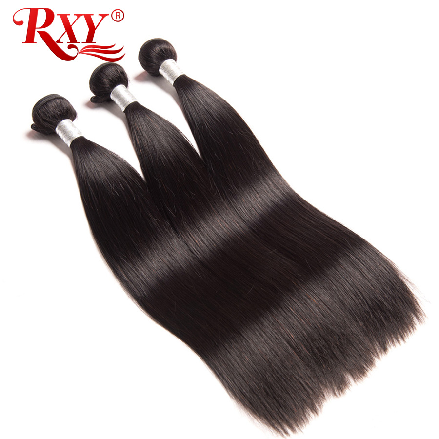 RXY Remy Hair Straight Lurus 3pcs banyak Top Brazilian Tenunan Renda Rambut 100% Rambut Manusia Bundle Double Weft Weaves Extensions