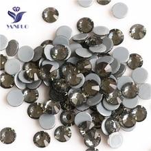 YANRUO 2058HF SS20 Black Diamond 1440Pcs Flatback Hot Fix Strass Glass Crystal Hotfix Rhinestones For Wedding Dress цена