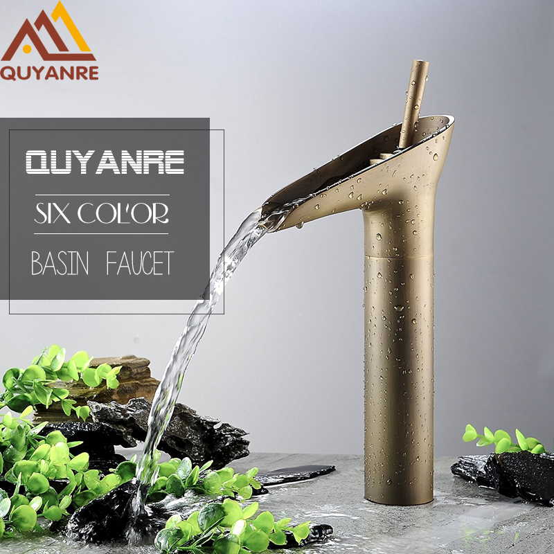 Quyanre Black Antique Open Spout Waterfall Basin Sink Tap Torneira Banheiro Single Handle Mixer Tap Bathroom Vessel Sink Faucet contemporary waterfall spout basin faucet single handle bathroom vessel mixer tap chrome finished