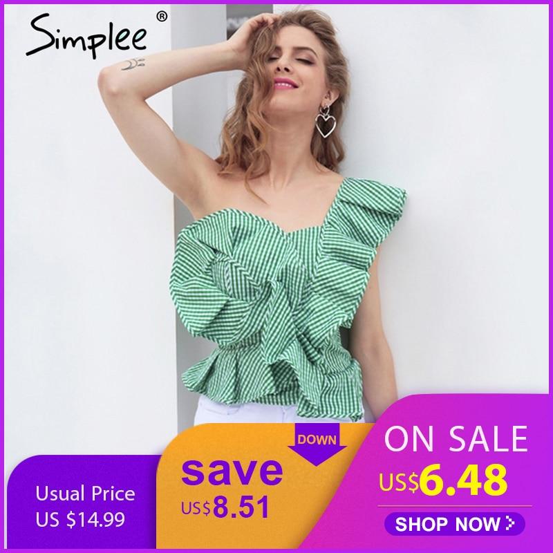 Simplee Egy váll blúz ing női felsőrészek Nyári szabálytalan csíkos ing blúz chemis femme Elegáns fodros zipper blusas