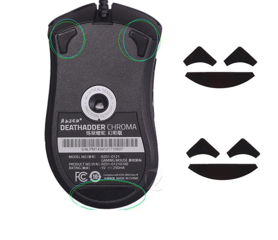 Mouse feet skates mouse pads for Razer DeathAdder Chroma , 2 SETS 0.6MM Thickness title=