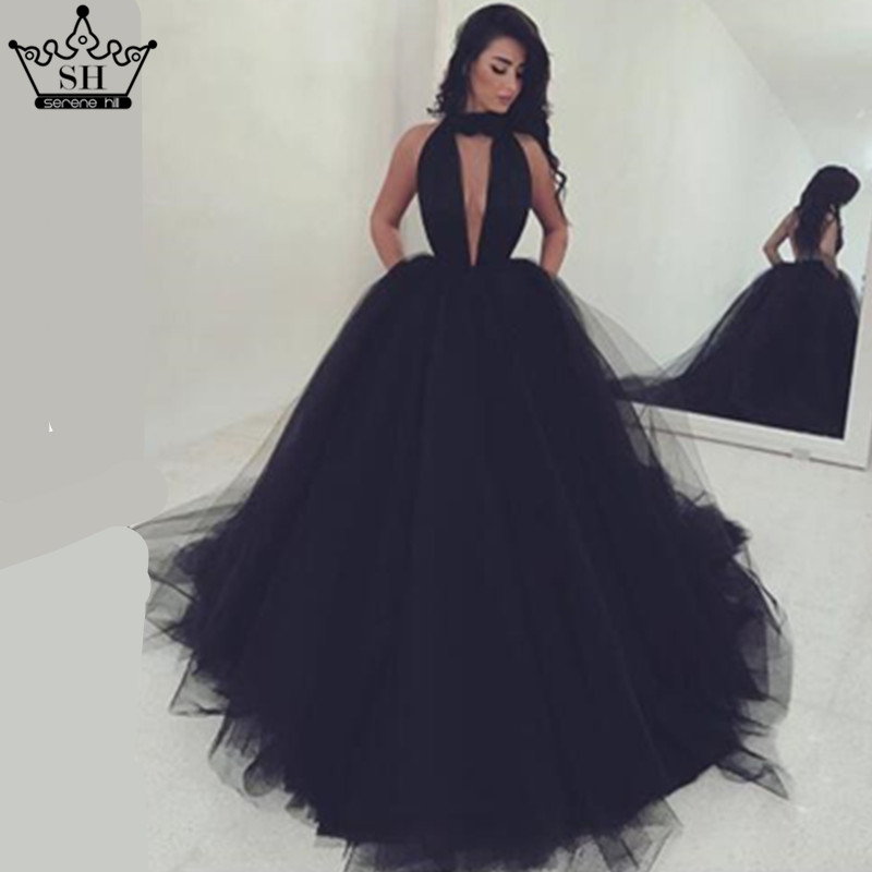 Aliexpress Buy Sexy Backless Black Sleeveless Pleat Tulle Wedding Dress Robe Chic Bridal Gown 2017 Serene Hill De Mariag From Reliable