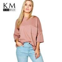 Kissmilk Plus Size Pocket Front O Neck Women Basic Tops Solid Color Three Quarter Sleeve T Shirt Large Size Breathable T Shirt