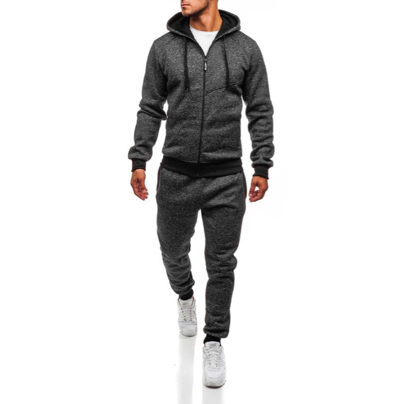 ZOGAA New Brand Men Tracksuit Two Piece Set Men Sweatsuits Elastic Waist Pants Zipper Hoodies Solid Gym Sport Track Suit Men Set