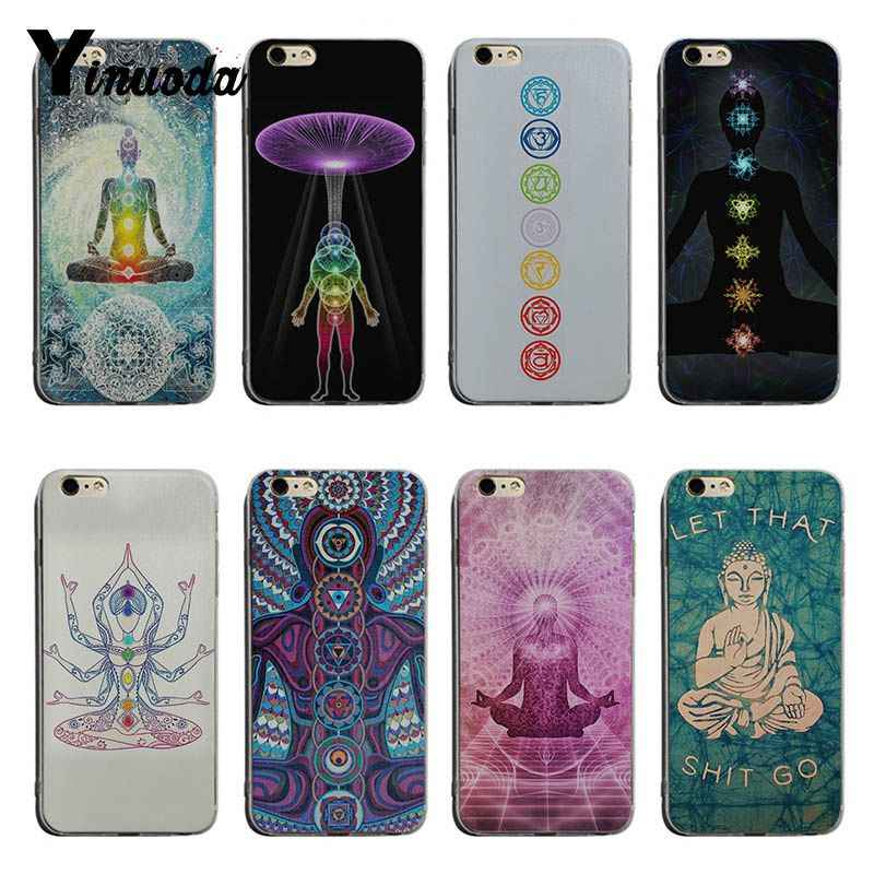 Yinuoda Chakra Yoga Fashion transparent soft tpu Cell Phone Case For iPhone X XS XR XsMax 8plus 6 6s 7 7plus Mobilecover