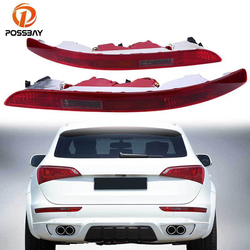 POSSBAY Car LED Brake Light Parking Reverse Lights Rear Lower Bumper Red Reflector Lamps for Audi Q5 2.0T 2009-2016 Tail Lamp sale for nissan qashqai dualis 2007 2013 car led rear bumper reflectors light brake tail parking night runing lights round