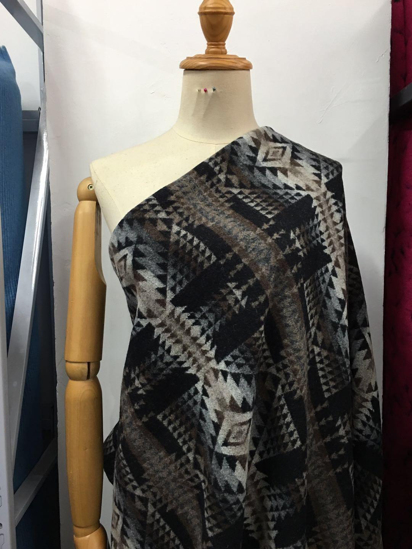 165 cm de large 100% laine mode grand noir gris ethnique tissu géométrique laine tissu hiver manteau