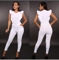 Plus Tamaño Atractivo Del Club Del Desgaste Negro Body Mamelucos Womens Jumpsuit Blanco Vendaje de Bodycon Elegante Playsuit Pantalones Largos Guardapolvos Y887