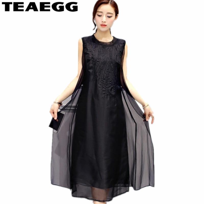 TEAEGG Women Vintage Summer Dress 2019 Sleeveless Casual Black Dress Plus Size 3XL 4XL Silk Chiffon Laides Party Dresses AL924