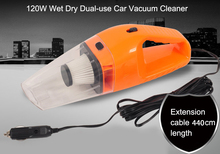 Portable 120W Car Vacuum Cleaner Wet Dry Dual-use Handheld Super Suction Mini Vacuum Cleaner Vehicle Home use Dust Water Clean