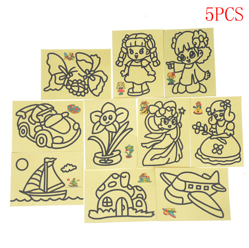 5Pcs Sand Art Painting Cards Sand Art Kids Coloring DIY Crafts Learning Sand Painting Handmade Colored Cartoon Drawing Toys