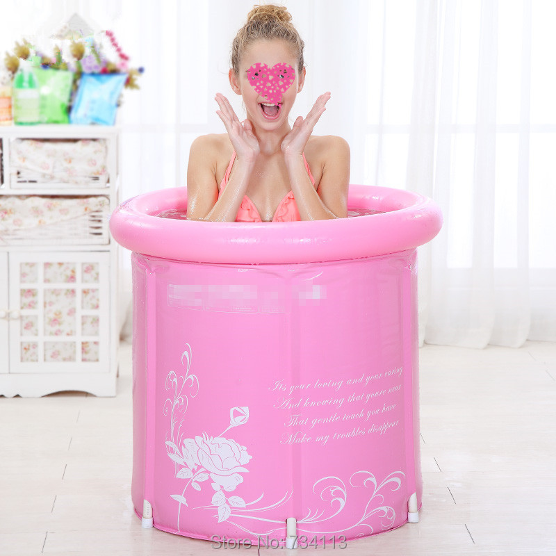 Portable inflatable tub Thick folding bathtub inflatable PVC swiming pool for kids and adult Inflatable bath with lid blue pink