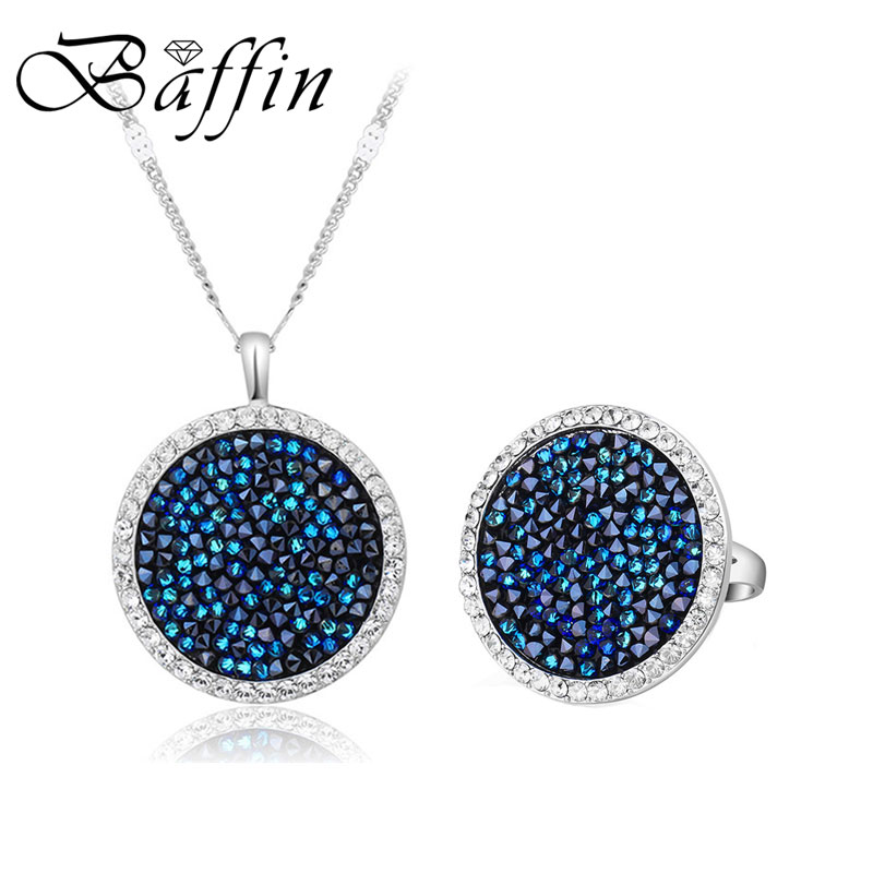 BAFFIN Crystals Pave Jewelry Sets Round Pendant Necklace Maxi Rings Luxury Accessories For Women Made With SWAROVSKI ELEMENTS baffin crystals pave jewelry sets round pendant necklace maxi rings luxury accessories for women made with swarovski elements