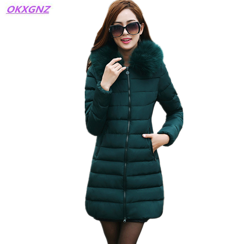 New Women's Winter Down Cotton Jackets Fur Collar Coats Fashion Hooded Parkas Plus size Medium Length Slim Outerwear OKXGNZ AH06 new winter women down cotton coats fashion hooded fur collar long jackets plus size thick warm down cotton outerwear okxgnz 812