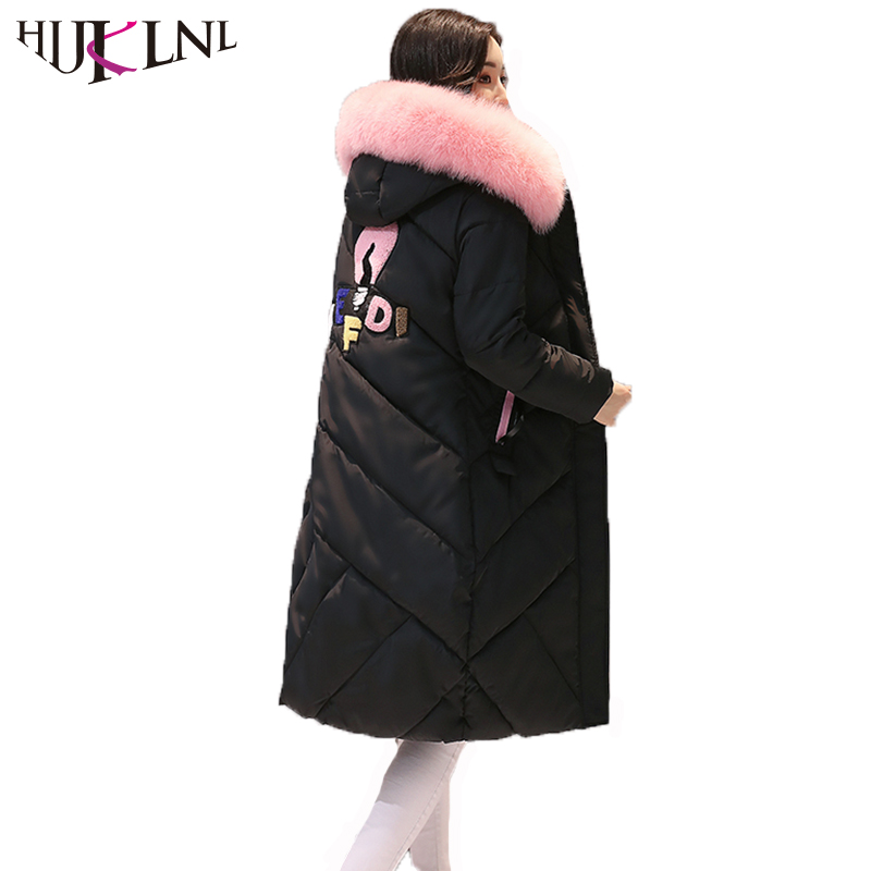 HIJKLNL Cotton Jacket 2017 Women Winter Long Thick Coats and Jacket With Fur Collar Slim Hooded Cartton Padded Parka Mujer NA430 hijklnl women casual letter printed hooded long jacket 2017 winter thick coats female loose overcoat cotton parka mujer na340
