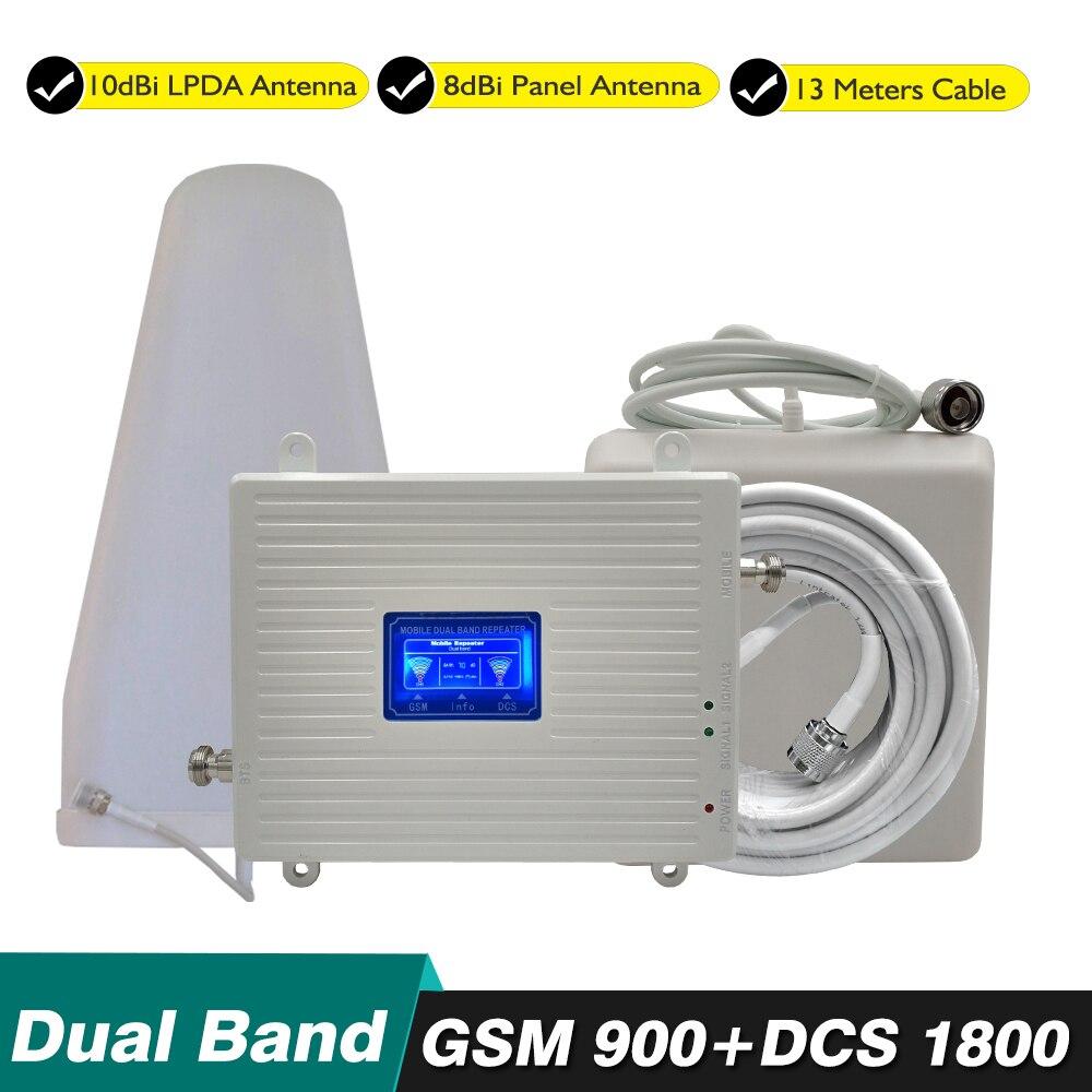 70dB Ganho 23dBm 2g 4g Kit Dual Band de Reforço GSM 900 mhz DCS 1800 mhz 4g LTE celular Repetidor De Sinal de Celular Amplificador Conjunto Completo
