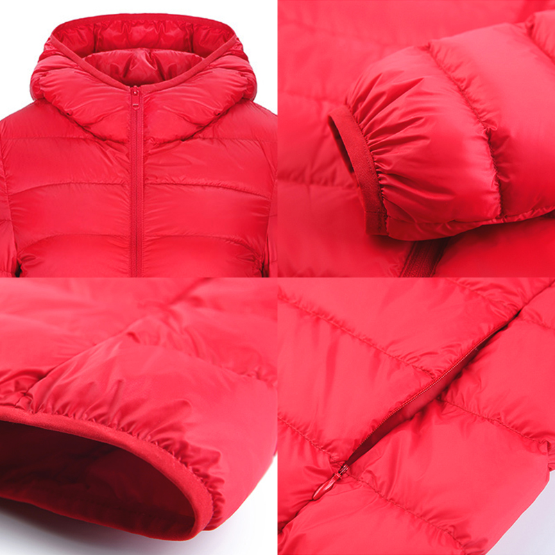 Down jacket women hooded 95% duck down coat Ultra Light warm large size Female Solid Portable stand collar down jacket winter 4