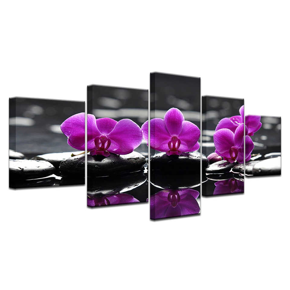 Canvas Print Painting Pictures For Kitchen Modular Picture Posters Room Decor Art Orchid Modern Flowers 5 Panel Wall Art Poster