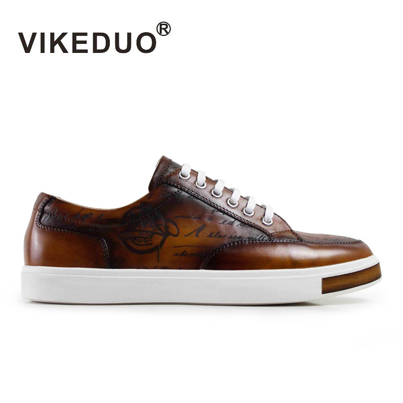 Vikeduo 2019 Sizzling Handmade Classic Vogue Luxurious Model Male Shoe Real Leather-based Males Informal Skateboard Footwear Brown Mans Footwear