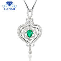 Romatic Pear Cut 5x7mm Pendant With Natural Stone Emerald 18k White Gold Diamond Ring WP068